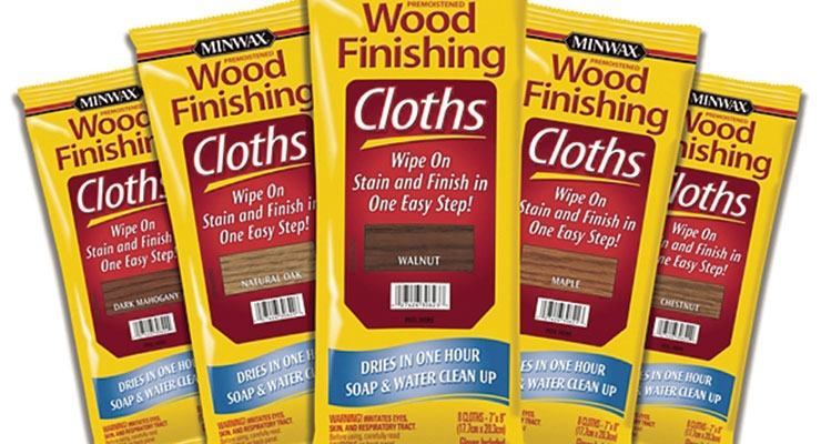 Minwax Wood Finishing Cloths take the convenience of a one-step wiping stain and finish to a whole new level. Now DIYers have everything you need in one handy package – even plastic gloves are included. To use: Sand the wood smooth, remove any sanding dust, simply wipe on the stain and finish using the pre-moistened cloths. Wipe off the excess with a clean rag and let dry for an hour.