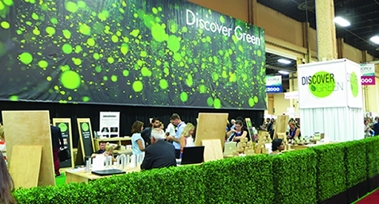 Discover Green, defined by artificial hedges,  was a large area dedicated to brands that offered greener choices,  such as eco-friendly, clean, organic and natural beauty products.