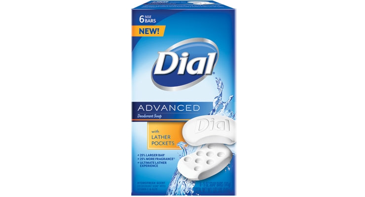Dial's new Advanced Deodorant Soap bar, which is 25% larger and delivers 25% more fragrance, has special lather pockets.