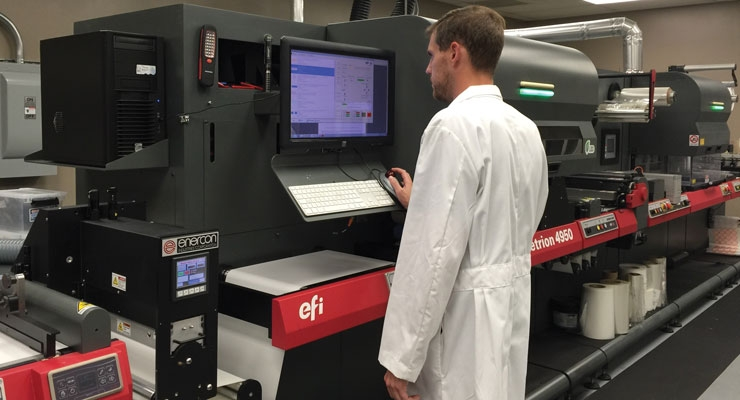 Matt Cline, digital press operator, running the EFI Jetrion 4950LX label press