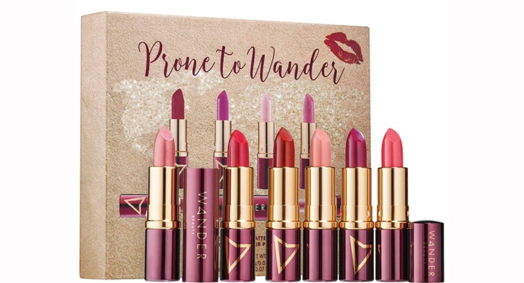 Wander Beauty's Wanderout Dual Lipstick package, produced by World Wide Packaging, is dual-ended for customizable lip colors on the go.