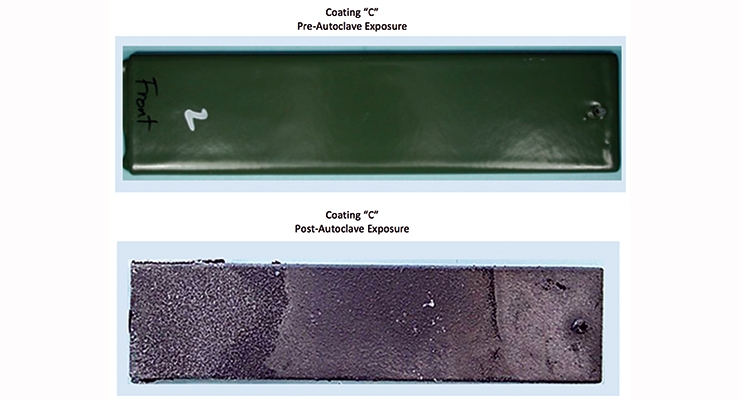 "Figure 1.  Pre- and post-autoclave exposures for coating ""C""."