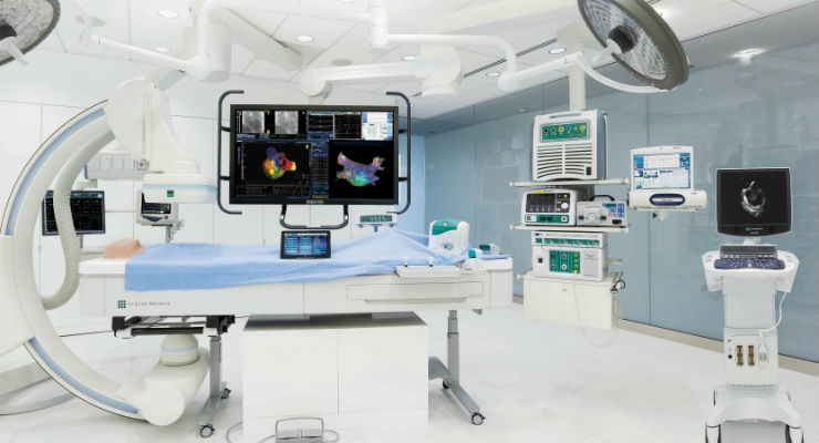 The new EnSite Precision cardiac mapping system offers a new dual-technology platform that provides highly detailed anatomical models and maps to enable more efficient treatment of a wide range of arrhythmias—including complex arrhythmias, such as atrial fibrillation or ventricular tachycardia. (Credit: Business Wire)