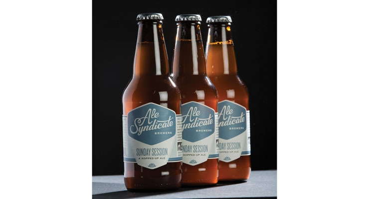 The heritage bottle and slate blue color block label allow the beer to stand out on a crowded shelf.