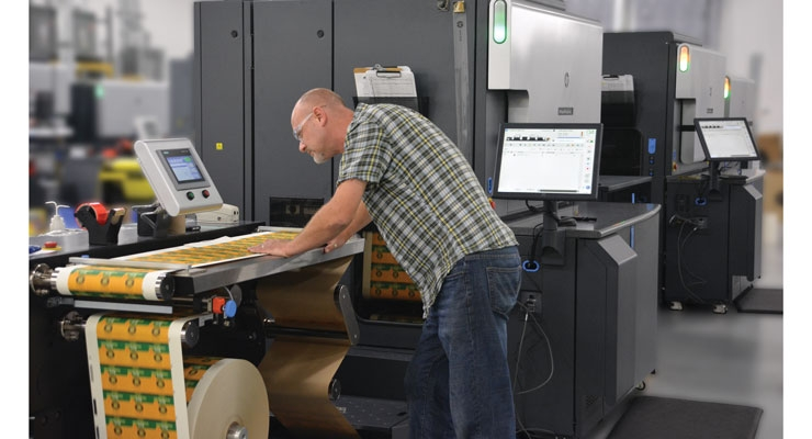 Shorter runs and SKU proliferation have necessitated the need for digital printing in food labeling, as seen here with the HP Indigo 8000 digital press.