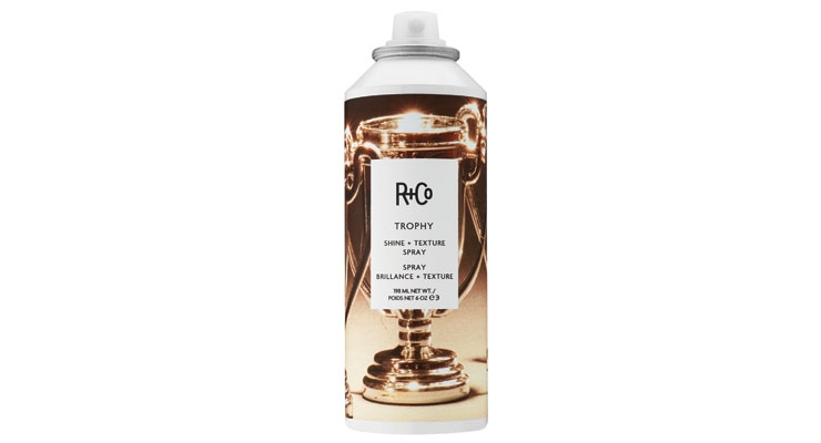 R+Co Trophy Shine + Texture Spray  imparts an edgy look.
