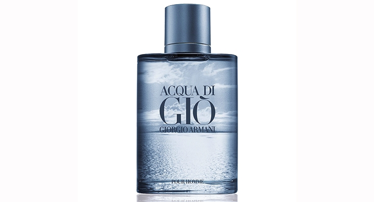 The deco for this limited-edition Giorgio Armani Acqua Di Gio fragrance includes a silk-screened front panel and an intricate inkjet rendering on the back, all executed by Stoelzle Glass.