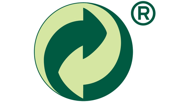 Figure 1: The Green Dot trademark is a circle containing two entwined arrows around a vertical axis. It is recommended to use the symbol ® to signify that this is a registered trademark, but this is not obligatory.