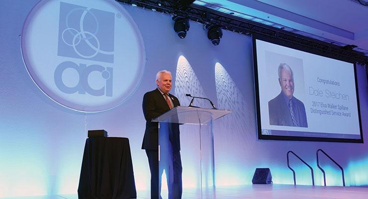 Dale Steichen, AkzoNobel Chemicals LLC, accepts  the 2017 ACI Distinguished Service Award.