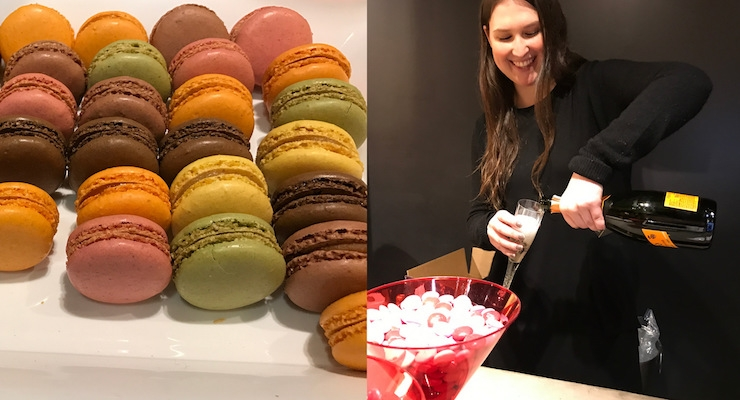 Refreshments included champagne and macarons