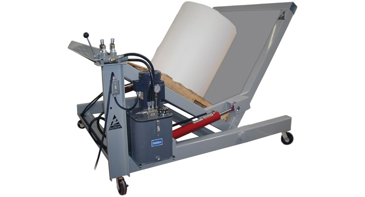 The Pal-A-Tilt from Aztech Converting is designed to rotate jumbo rolls.