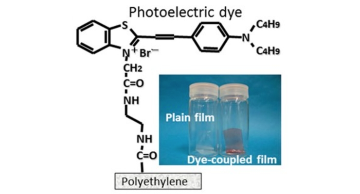 The main component of Okayama University-type retinal prosthesis (OUReP) is a photoelectric dye molecule, the structure of which is shown. The dye molecules are attached to a polyethylene film, resulting in a promising retinal implant. Quantitative testing experiments were done on the response of dye-coupled (OUReP) films and plain films, implanted in rats, to flashing LED light.