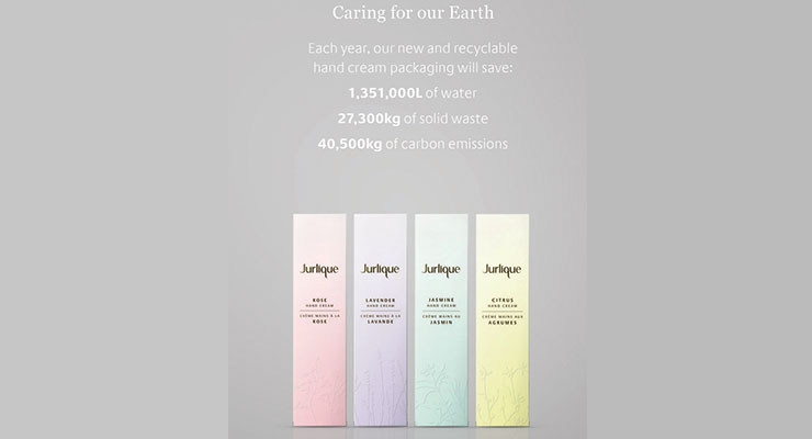 Jurlique's Hand Cream boasts multiple eco savings. (For an interview with Yoshie Obara, environmental officer for Jurlique, see BeautyPackaging.com.)