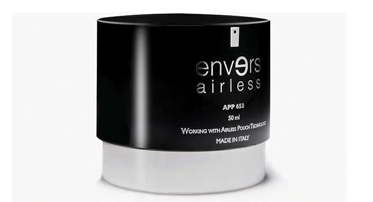 Lumson's Envers airless jar has a twist and lock feature, and works well with heavy creams.