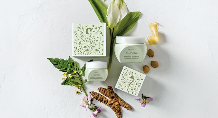Aveda's Tulasara Wedding Masque Overnight and Wedding Masque Eye Overnight treatment products come packaged in cartons decorated with an intricate filigree pattern inspired by traditional Indian customs and weddings, including botanical motifs and henna.