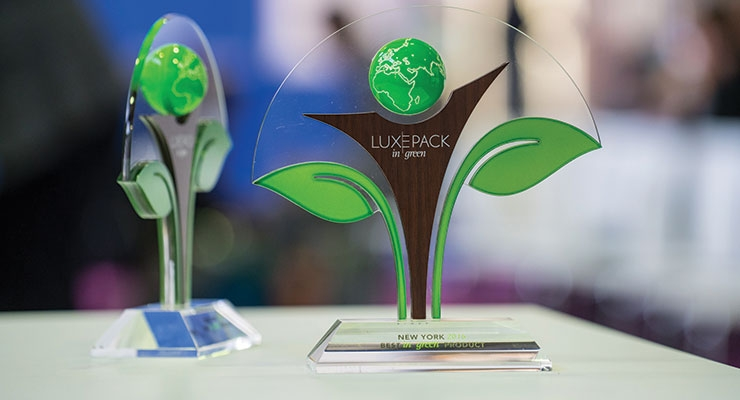 The trophy designed for the Luxe Pack in Green Award 2016