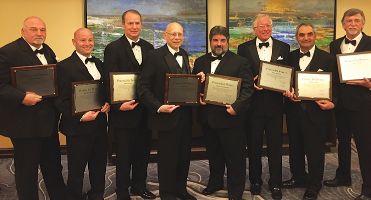 The recipients of the 2017 NAPIM Printing Ink Pioneer Awards included, from left, Dan Shevkun, Kevin Bergeson, Dave Waller,  Luigi Ribaudo, David Aynessazian, Jack Powers, Ami Youhana and Jim Garner. Jim Felsberg is not pictured.