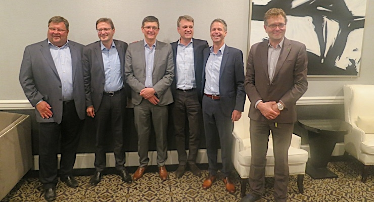 Bernard Zwaenepoel (L), Thomas Klein, Philippe Adam, Joakim Weidemanis, Udo Panenka and Jan de Roeck deliver press conference.