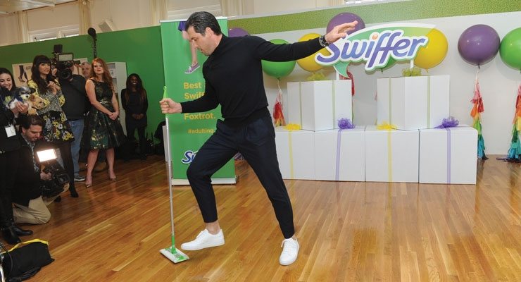 """""""Dancing with the Stars"""" sensation Maksim Chmerkovskiy takes to the dance floor to celebrate Swiffer's 18th birthday, demonstrating how #adulting and cleaning is easy with Swiffer, Thursday, March 16, 2017, in New York. (Photo by Diane Bondareff/Invision for Swiffer/AP Images)"""