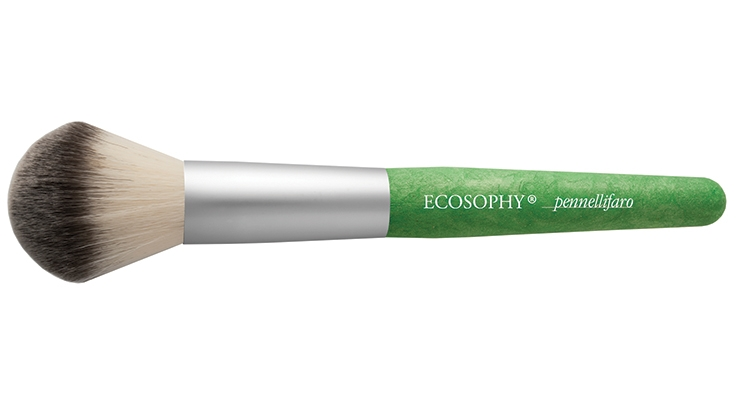 "Pennelli Faro's Ecosophy brush has a soft touch, flexible handle and an ""organic"" look. It is made entirely  with food packaging production waste material, the hair is Dermocura Synthetic fiber and the ferrule is recycled aluminum."