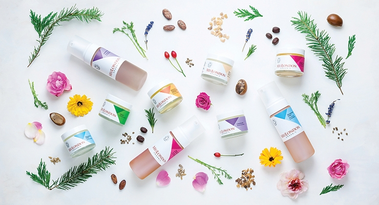 MuLondon's cleansers (bottles) and moisturizers have been artistically re-created to better reflect the brand's herbal ingredients and corporate values.
