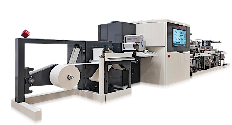 The Nilpeter Panorama in a new, value-added digital hybrid configuration, featuring digital inkjet, flexo units, FP-4 unit for hot foil and embossing, semi-rotative die unit and a smart matrix unit.