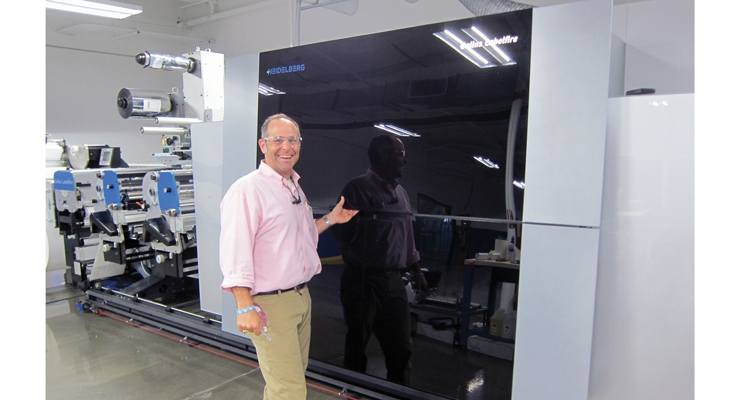 Hub Labels president Thomas Dahbura with the Gallus Labelfire DCS 340. Installed in March 2017 – the second in the US – the Labelfire is a digital/flexo hybrid press.