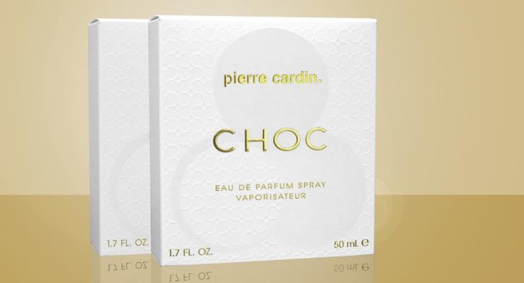 Diamond Packaging's carton for Five Star Fragrance  Company's Pierre Cardin Choc fragrance.