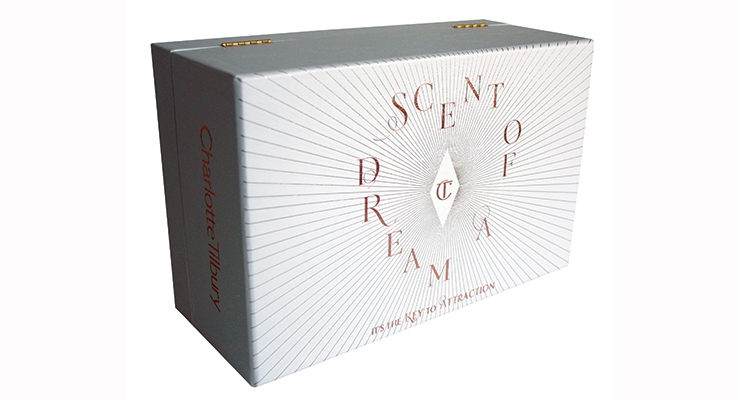 Clarke Rubicon's box for Charlotte Tilbury's fragrance.