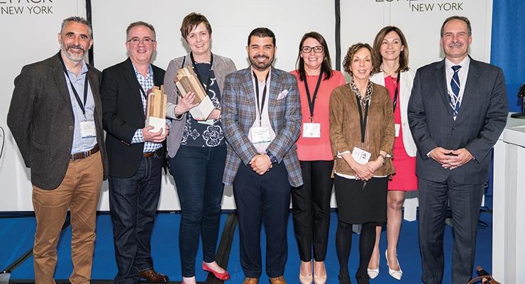 Green Award winners and judges (L-R): Nick Shephard (James Cropper), Allen Langlois (Scheufelen), Susan Wilson (James Cropper), John Morgan, Danielle Doche, Jamie Matusow, Nathalie Grosdidier (managing director, Luxe Pack), James Neri