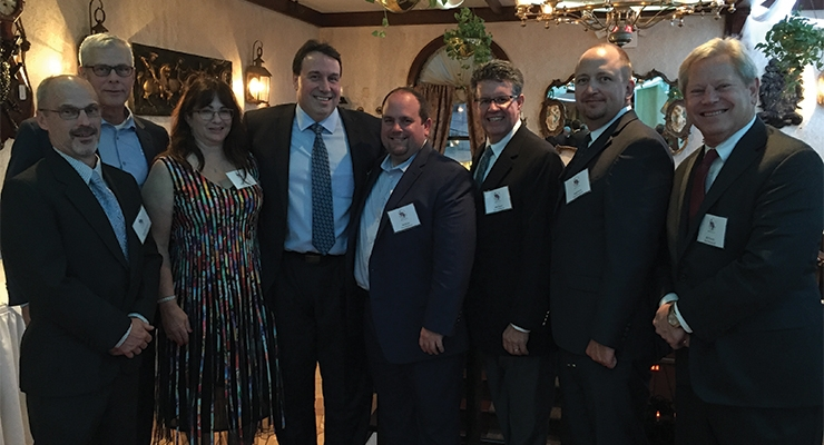Sun Chemical was well represented at the dinner, with, from left, Greg MacMurray, Chris Allen, Eileen and Myron Petruch, Ed Webb, Joe Rosati, Fred Buck and Ed Polaski.