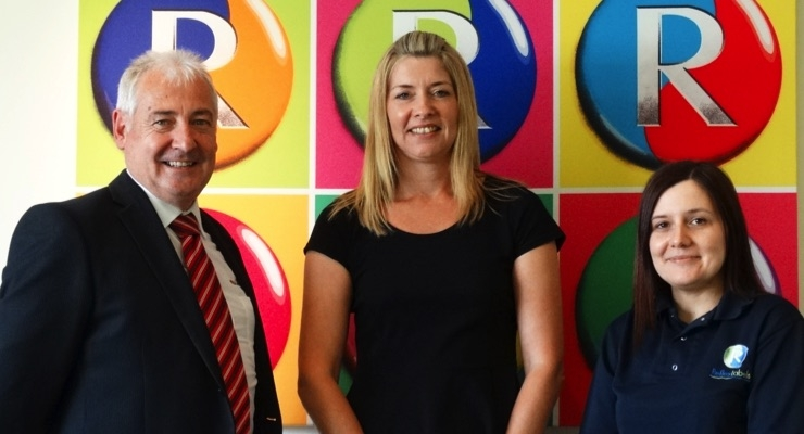 Mark Andy UK's Paul Macdonald with Reflex Labels' Commercial Operations Manager Sharon Preston, and Production Operations Manager Tanya Greenfield