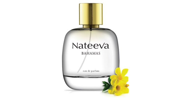 "Nateeva Jamaica, St. Martin and Bahamas: ""There's a certain signature to our fragrances—each one is light, fresh and clean—and our packaging reflects that,"" continued Freeman. ""But once inside, you're greeted by a lovely bottle nestled in a dazzling bed of native flowers, along with a beautiful poem detailing the flower that inspired the fragrance."""