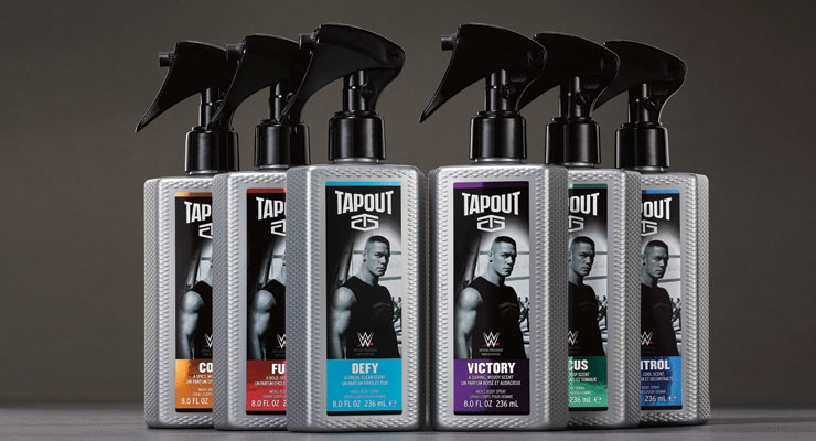 Tapout Body Sprays: Cena is front and center in a design that is clearly masculine and industrial, complete with a black pull trigger and texture on the bottle that resembles diamond plate flooring one would find inside the weight room.