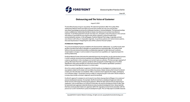 Outsourcing and the Voice of the Customer
