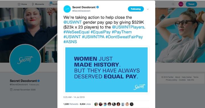 Secret Aims To Close Soccer Pay Gap