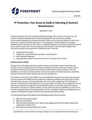 IP Protection: Four Areas to Audit in Selecting A Contract Manufacturer