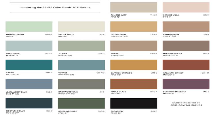 BEHR Reveals Color Trends 2021 Palette