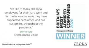 Croda Named Britain's Most Admired Chemicals Company