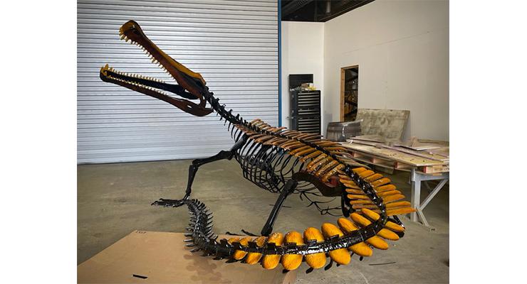 HMG Paints Coat Fabricated Dinosaur Skeleton