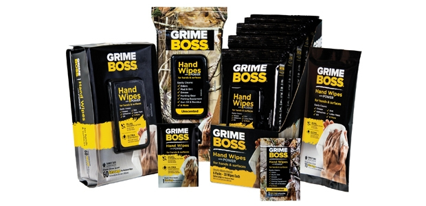 The unscented version of GrimeBoss wipes are geared toward outdoor activities such as hunting and fishing where they clean up messes while masking odors.