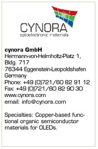 cynora GmbH Poised to Make Inroads in the OLED, OPV Markets