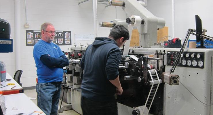 A job being run on one of Argent's Webtron flexo presses.