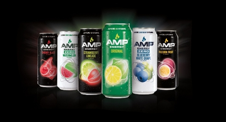 The new flavors include AMP Energy Strawberry Limeade, AMP Energy Passion Fruit, AMP Energy Blueberry White Grape ZERO and AMP Energy Watermelon ZERO.