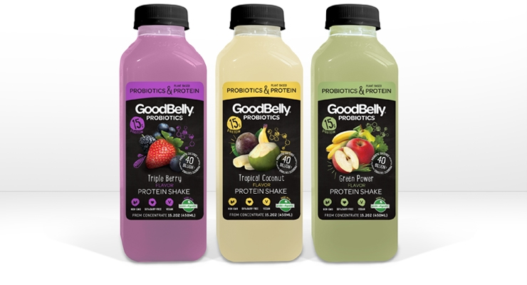 GoodBelly Protein Shakes feature 15 grams of plant-based protein plus 40 billion live and active probiotic cultures .