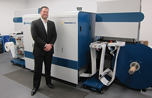 Adam Gray with the Domino N610i UV inkjet press