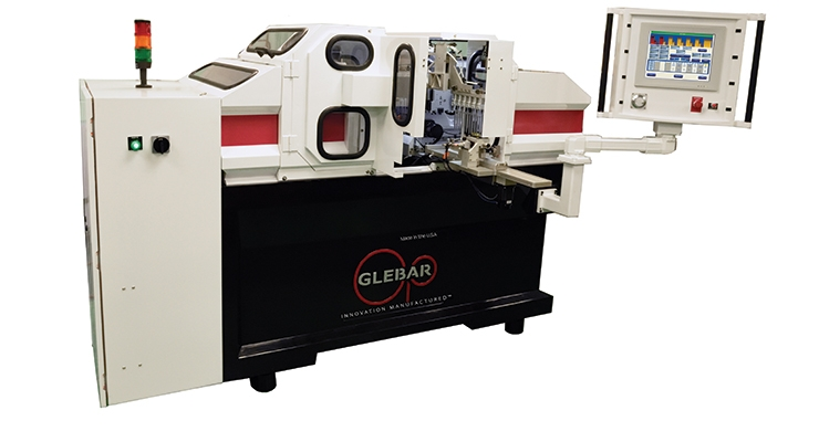 The GT-610 CNC centerless thrufeed/ infeed grinder, weighing approximately 7,000 pounds on a mineral cast base, is geared toward hard metals and is capable of grindingmultiple componentsat a time. Image courtesy of Glebar.