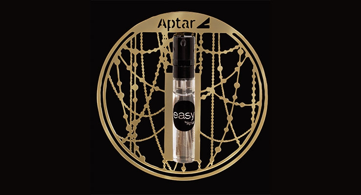 Aptar's Easy Clip Card sampling system echoes the glamorous Art Deco era.