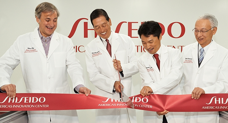 A Grand Opening: (l-r) Marc Rey, president and CEO, Shiseido Americas; Masahiko Uotani, president and group CEO, Shiseido Co. Ltd.; Katsunori Yoshida, executive vice president, Americas Innovation Center, Shiseido Group USA; and Yoichi Shimatani, chief research and development officer, Shiseido Co. Ltd.