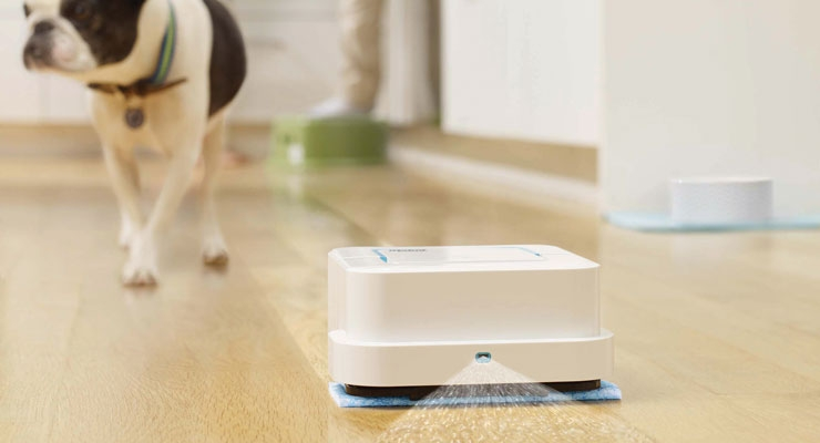 iRobot's robotic cleaning tool for hard floors features cleaning pads that lift dirt and stains all over the home.